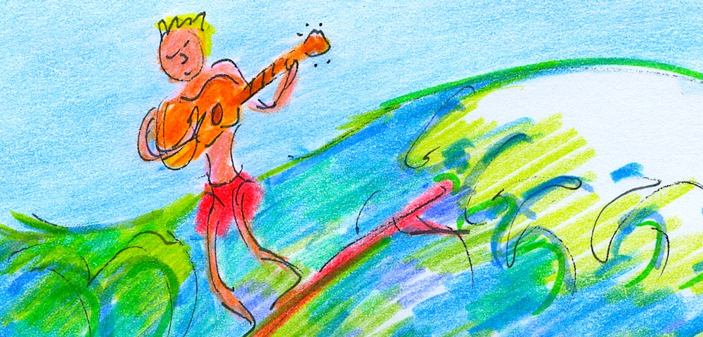 samba surf guitar drawing